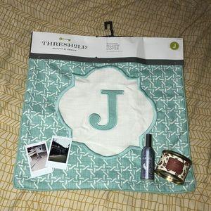 """Threshold """"J"""" Monogram Pillow Cover"""